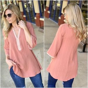 ✨Restocked✨Light Marsala Lace trim Cotton tunic